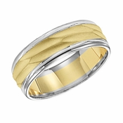 ArtCarved 7mm Dual Finish 14K Gold Reverse True Ring