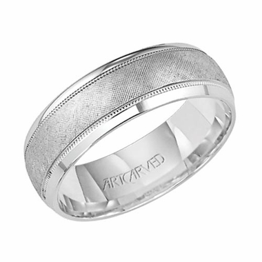 ArtCarved 7mm Dual Finish 14K White Gold Ring