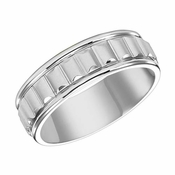 ArtCarved 7mm Dual Finish 14K White Gold Ring with Ridges