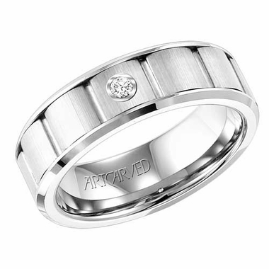 ArtCarved 7mm Dual Finish White Tungsten Carbide Diamond Ring with Cuts