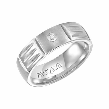 ArtCarved 7mm White Tungsten Carbide Diamond Ring with Cuts