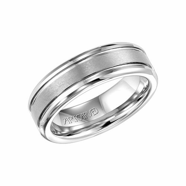 ArtCarved 7mm White Tungsten Carbide Ring
