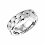 ArtCarved 7mm White Tungsten Carbide Ring with Alternating Cuts