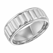 ArtCarved 8mm Dual Finish 14K White Gold Ring