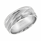 ArtCarved 8mm Dual Finish 14K White Gold Ring with Grooves