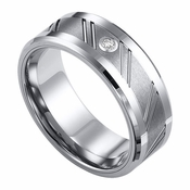 ArtCarved 8mm Flat Tungsten Carbide Diamond Wedding Band