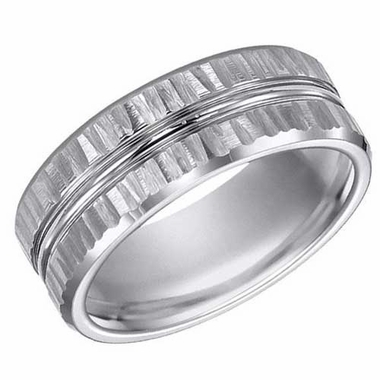 ArtCarved 8mm Hammered Tungsten Carbide Ring with Double Groove