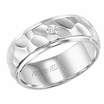 ArtCarved 8mm Hammered White Tungsten Carbide Diamond Ring