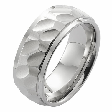 ArtCarved 8mm Hammered White Tungsten Carbide Ring