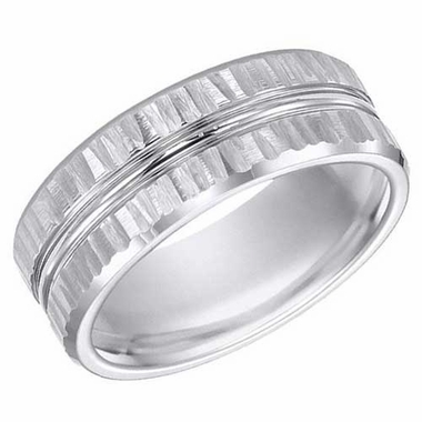 ArtCarved 8mm Hammered White Tungsten Carbide Ring with Double Groove