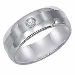 ArtCarved 8mm Tungsten Carbide Diamond Ring
