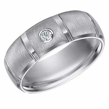 ArtCarved 8mm Tungsten Carbide Diamond Ring with Vertical Cuts