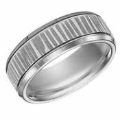 ArtCarved 8mm Tungsten Carbide Ring with Vertical Cuts