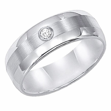 ArtCarved 8mm White Tungsten Carbide Diamond Ring