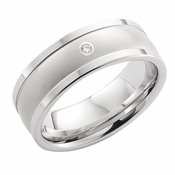 ArtCarved 8mm White Tungsten Carbide Diamond Ring with Squared Edges