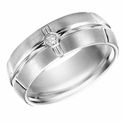ArtCarved 8mm White Tungsten Carbide Diamond Ring with Vertical Cuts