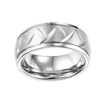 ArtCarved 8mm White Tungsten Carbide Ring with Diagonal Cuts