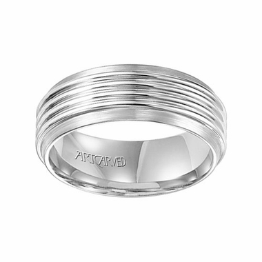 ArtCarved 8mm White Tungsten Carbide Ring with Grooves