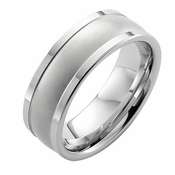 ArtCarved 8mm White Tungsten Carbide Ring with Squared Edges