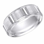 ArtCarved 8mm White Tungsten Carbide Ring with Vertical Cuts