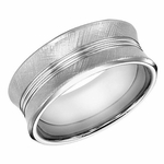 ArtCarved 9mm Concave White Tungsten Carbide Ring