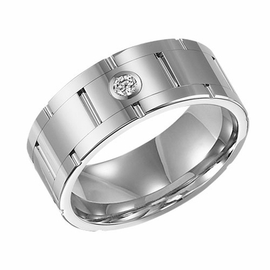 ArtCarved 9mm Tungsten Carbide Diamond Ring with Brick Design