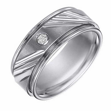 ArtCarved 9mm Tungsten Carbide Diamond Ring with Diagonal Cuts
