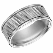 ArtCarved 9mm Tungsten Carbide Ring with Diagonal Cuts