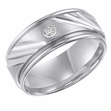 ArtCarved 9mm White Tungsten Carbide Diamond Ring with Diagonal Cuts