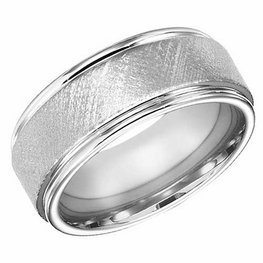 ArtCarved 9mm White Tungsten Carbide Florentine Ring