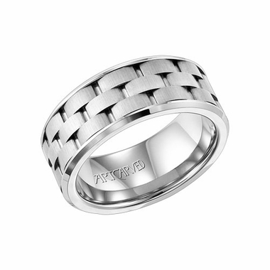 ArtCarved 9mm White Tungsten Carbide Ring with Alternating Cuts