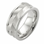 ArtCarved 9mm White Tungsten Carbide Ring with Arrow Design
