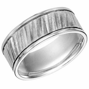 ArtCarved 9mm White Tungsten Carbide Ring with Diagonal Cuts