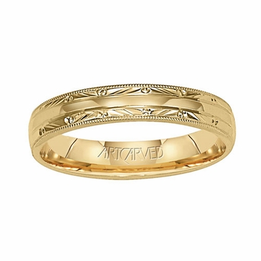 ArtCarved Adair 4mm 14K Yellow Gold Ring