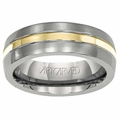 ArtCarved Adamas 6mm Titanium Wedding Band with 18K Yellow Gold Center