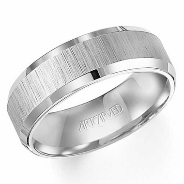 ArtCarved Adams 8mm White Tungsten Carbide Ring