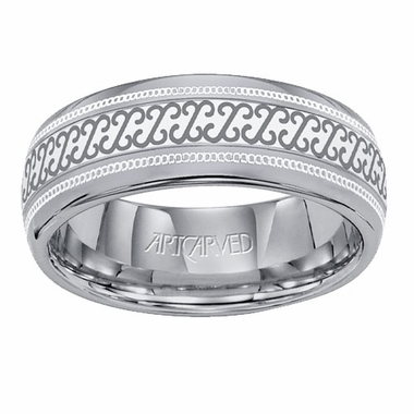 ArtCarved Alymer 8mm Laser Engraved Milgrain Tungsten Carbide Wedding Band
