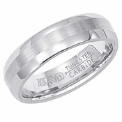 ArtCarved Aurora 6mm Dual Finish White Tungsten Carbide Wedding Band