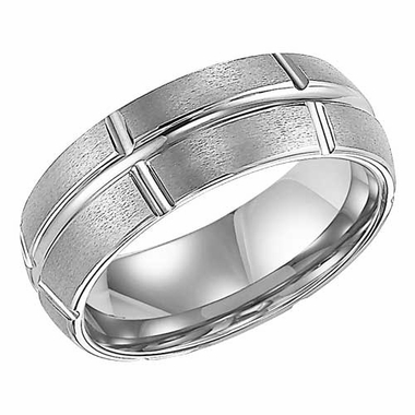 ArtCarved Bolton 8mm White Tungsten Carbide Ring with Grooves