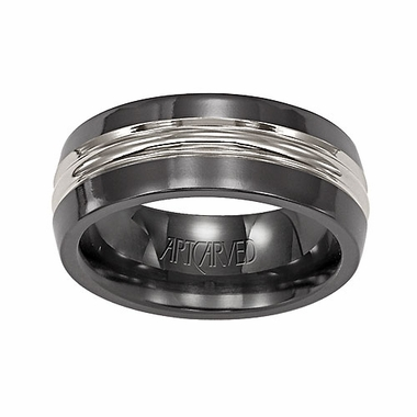 ArtCarved Camden 7mm Black and Gray Titanium Wedding Band