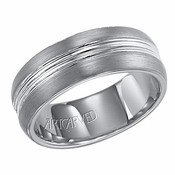 ArtCarved Carter 8mm Tungsten Carbide Ring with Double Groove