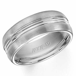 ArtCarved Carter 8mm White Tungsten Carbide Ring with Double Groove