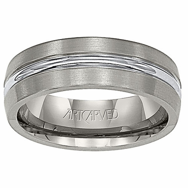 ArtCarved Centurion 7mm Gray Titanium Wedding Band with Polished Center Groove