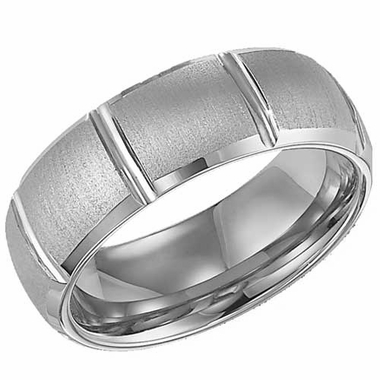 ArtCarved Clarke 8mm Tungsten Carbide Ring with Vertical Cuts