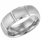 ArtCarved Clarke 8mm White Tungsten Carbide Ring with Vertical Cuts