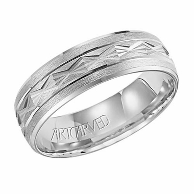 ArtCarved Clayton 6.5mm 14K White Gold Band with Diamond Patterns