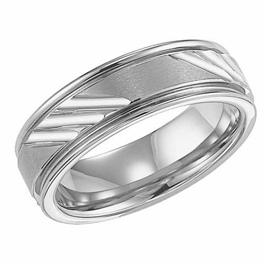 ArtCarved Colebrook 7mm White Tungsten Carbide Ring with Diagonal Cuts