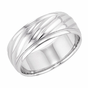 ArtCarved Collier 8mm 14K White Gold Ring