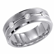 ArtCarved Coltrane 8mm Tungsten Carbide 3 Diamond Ring