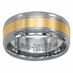 ArtCarved Comstock 9mm Tungsten Carbide Wedding Band with 18K Yellow Gold Center